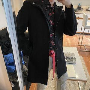 Express black wool top coat jacket size small